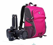 Women's Waterproof DSLR SLR Camera Backpack Rucksack Bag Case For Canon Nikon