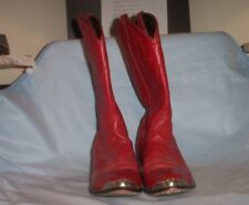 BRIGHT RED  Men's Western  Boots 9 EE Genuine Leather  SILVER TONE CLIP ON TOES
