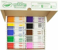 Crayola Classpack MARKERS, 200ct 10 Colors Fine Line Kids COLORING MARKERS NEW