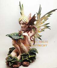 LARGE NUDE TRIBAL FOREST FAIRY FEEDING DRAGON PETAL FIRE STATUE FIGURINE