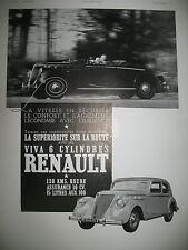 PUBLICITE DE PRESSE RENAULT VIVA 6 CYL. AUTOMOBILE FRENCH AD 1937