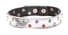 Funky Inspired Multi- Gem/silver Adjustable Leather Choker Necklace(Zx173)