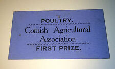 Antique Poultry 1st Prize Ticket - Cornish Agricultural Association Maine! Farm!