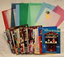 Plastic Canvas Lot 29 Craft Books 27 Mesh Canvas Sheets Xmas Holiday Baby & More