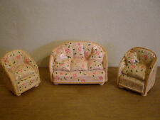 Dollshouse miniature ~ CREAM & PEACH FLORAL~ 1:24 Scale RESIN 3 Piece Suite