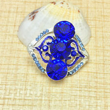 NEW Fashion Blue Rhinestone Charm Chunk Snap Button fit for Noosa Bracelet BUZ61