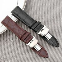Black Stainless Steel Butterfly Clasp Buckle Watch Strap Genuine Leather Band UK