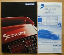 HYUNDAI S COUPE 1990 UK Mkt Sales Brochure + Price List - Scoupe