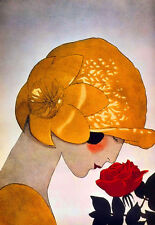 Art Deco Haute Couture - Lady smelling a Red Rose - A3 Art Poster Print