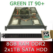 1HE / 1U Rack Server AMD Opteron 64bit Quad Core 2.70GHz 8GB RAM 2 x 1TB HDD 90+
