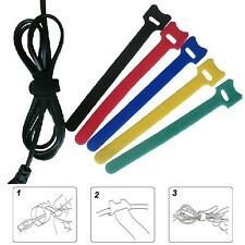100 pcs 30cm Reusable Hook Loop Cable Ties Straps Organizer Wire Band