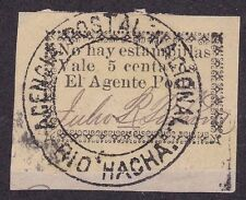 Colombia 1901 Scarce 5 cent on piece Magdalena RIO Hacha Provisional Issue
