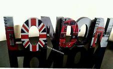 Grand london mot bloc en bois autoportante mur ornement suspendu cadeau de noël neuf