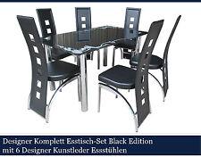 """Designer Komplett Esstisch-Set """"Black Edition"""" mit 6 Kunstleder Essstühlen!"""