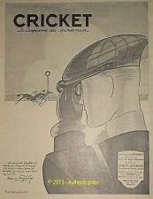 PUBLICITE CASQUETTE CRICKET COURSES CHEVAL SIGNE ANDRE DE FOUQUIERES DE 1927 AD
