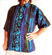 "Hand-painted Hawaiian shirt,black with painted fish-bones,L,52"" Indonesian Batik"