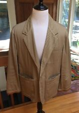 Vintage '90s Willis & Geiger Safari Lodge Jacket Men's M Cotton & Leather