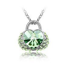 Halskette Herz Herzanhänger Style Anhänger Strass Damen Kette necklace grün