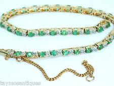 14.000 GIALLO ORO Diamond & Emerald BRACCIALE TENNIS E CATENA DI SICUREZZA CON BOX