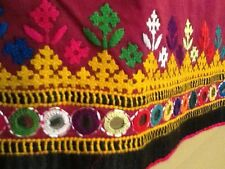 Cotton Table Runner, Sindhi Hand Embroidery with Shisha, Burgundy, 14x72