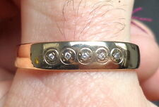 14K Yellow Gold Men's Band w/ 5 Gypsy Set 1mm Colorless Diamonds Sz 13 Ring