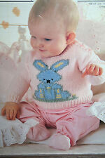 Baby's Jumper with Rabbit Motif Knitting Pattern