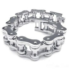 20MM Wide Heavy Shiny Mens 316L Stainless Steel MotorBike Chain Bracelet.