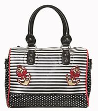 Banned Anchor Rose Sailor Nautical Shoulder Bag Polka Dot Black White Stripe