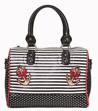 Banned Anchor Rose Sailor Nautical Shoulder Bag Polka Dot Black White Stripe