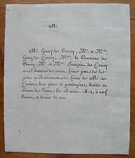 COMTESSE DE CANISY, 28 MARS 1814, FAIRE-PART ORIGINAL DE DECES