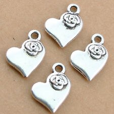 Wholesale 60pcsTibetan Silver Alloy Heart /Flower Pendants Fit Bracelet 12x14mm