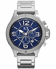 Armani Exchange AX1512 Men's Silver Steel Bracelet With 48mm Analog Watch NIB