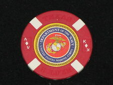 USMC Red Poker Chip Golf Ball Marker Card Guard Marine Corps Navy Texas Hold Em
