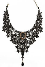 Victorian Necklace Costume Jewelry Gothic Crochet Bib Necklace Bronze Black