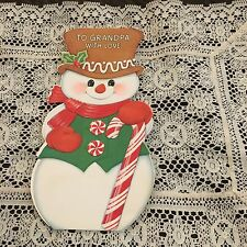 Vintage Greeting Card Christmas Snowman Candy Cane Hat