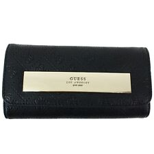 Guess Women's Shantal Signature Embossed Black Slim Clutch Tri-Fold Wallet