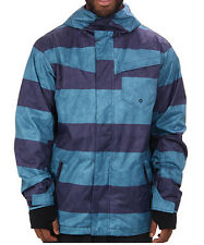 QuikSilver Men's 10K Mission Snow Jacket / Blue Stripes / XS / Retail:$179.00
