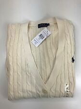BNWT POLO RALPH LAUREN LADIES CREAM CABLE KNIT SWEATSHIRT CARDIGAN L WOMENS