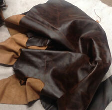 FR10 Leather Cow Hide Cowhide Upholstery Craft Fabric Distressed Brown 10 sq ft