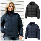 Womens Ladies Down Feel Puffer Quilted Padded Coat Jacket Black Navy 8 - 16