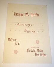 Antique American Norwich Union Fire Insurance Agency NY Advertising Trade Card!