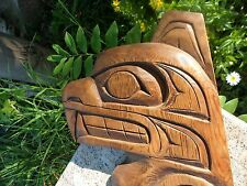 Erroll Ashley Hand Carved Bear Salmon Wood First Nations Native Art Cree Canada