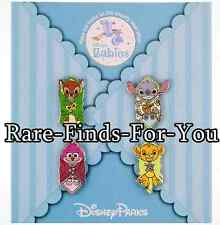 Disney Park Blanket Babies 4-Pin Booster Pack Set Stitch Cheshire Cat More (NEW)