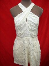 Halter peep hole Cream Lace Playsuit Romper jumpsuit All in One shorts 10 12 14