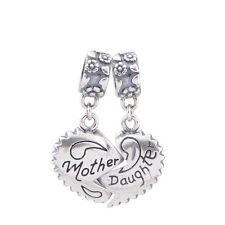 MOTHER DAUGHTER Love Heart Solid Sterling Silver Dangle Charm Beads for Bracelet
