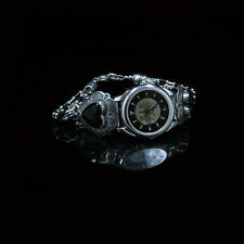 VINTAGE .925 Sterling Silver Natural Black Onyx Heart Wristwatch Watch