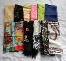 12 VINTAGE SQUARE HEAD SCARVES WRAPS ITALY JAPAN POLYESTER RAYON ACETATE