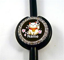 ID STETHOSCOPE NAME TAG LUCKY CAT, NURSE,RN,MEDICAL,ER,MA,VET TECH