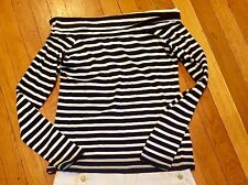 J Crew Striped Navy And White Off The Shoulder Top Ladies s NWT