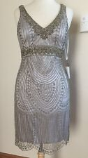 SUE WONG 1920's GATSBY Platinum Silver Beaded Wedding Bridal Cocktail Dress 14